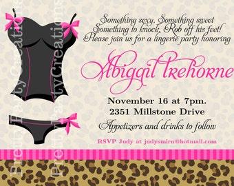 LEOPARD PRINT LINGERIE party invitation - you print