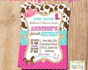 COWGIRL invitation - you print - PINK and AQUA