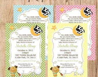 NURSERY RHYME baby shower or birthday invitation - U PRINT