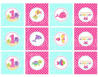 GIRLY OCEAN cupcake toppers - YOU Print