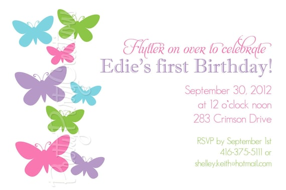 simple BUTTERFLY  invitation - YOU PRINT