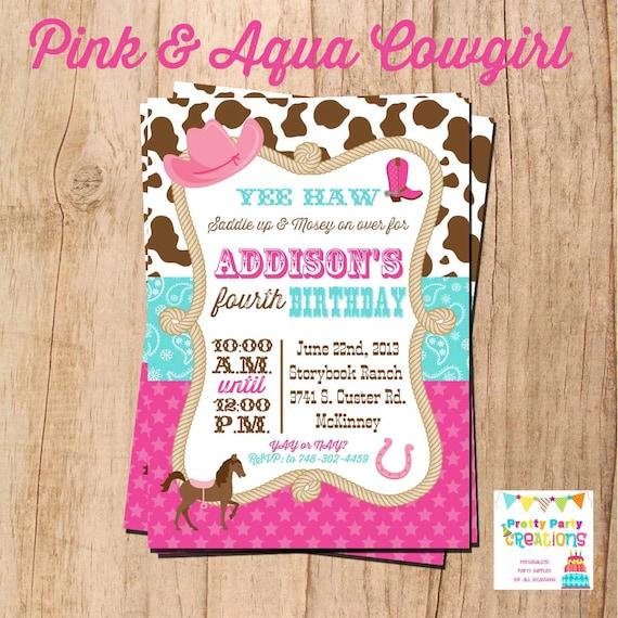 COWGIRL invitation - you print - PINK and AQUA