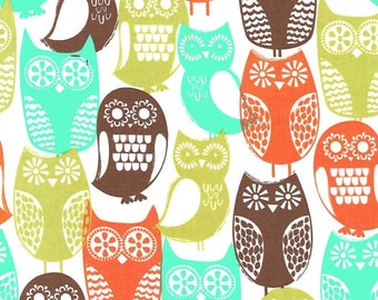 1 Yard Retro SWEDISH OWLS CX5439-BROWN Orange Aqua Brown Owl Birds Michael Miller Scandinavian 1970's Quilting Sewing Fabric