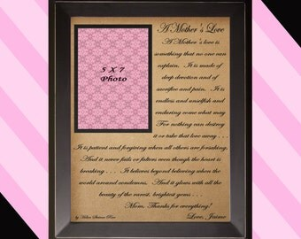 Gift for Mom / A Mother's Love / Thank you Gift for Mom / Personalized Picture Frame / Mother Daughter Frame / Wedding Picture Frame