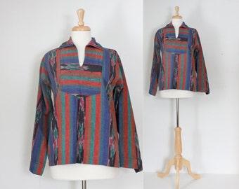 70s Shirt / Ikat Tunic / Tribal Shirt / Cotton Tunic / Boho Tunic / 70s Boho Shirt