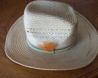 Vintage men's Western straw hat cowboy hat summer hat Keyston brand theater costume farm
