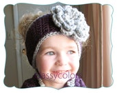 TODDLER EAR WARMER : purple and grey crochet toddler ear warmer, headband with flower
