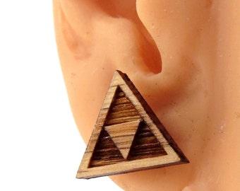 Tri Force Sustainable Wooden Post Earrings - triforce Oak Wood Studs