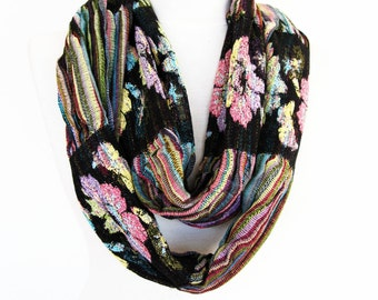 Elegant Black / Colorful Scarf, Long Scarf, Neck Wrap, Gift