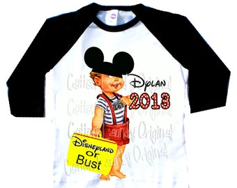 tshirt Disneyland inspried Childrens Raglan Disneyland/DisneyWorld or Bust 2016