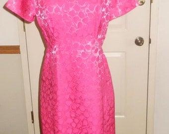 Vintage 1960's Hot Pink Damask Wiggle Dress