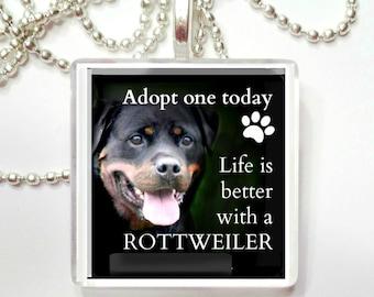 Adopt a Rottweiler Game Tile Pendant