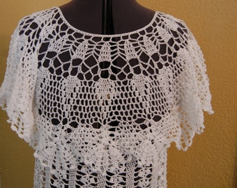 Crochet Tunic Top with Lace Bodice in White Cotton Thread Size Small/Medium