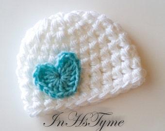 Crochet Baby Hat, Baby Girl Hat, Newborn Beanie, Baby Newborn Hat, Baby Girl, White Tiffany Blue, Valentine Heart, Newborn Girl Hat
