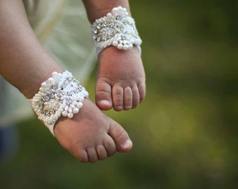 Baby Barefoot Sandals with pearls, Baby Shoes, Baptism Shoes, Baby Sandals, White Christening Shoes, Ivory baby shoes