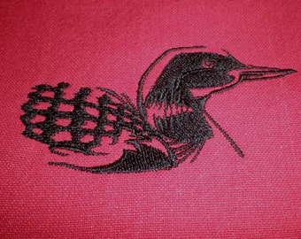 Kitchen Towel, Common Loon Embroidery, Cranberry Kitchen Towel, Housewarming Gift, Loons