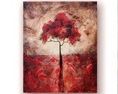 Landscape Painting on Canvas Red Tree Paintings Textured Painting Original Painting Rustic Chic Art 20x24 by Heather DAY
