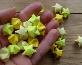 Yellow Origami Star Mix, Table Confetti, set of 24. Twinkle Twinkle Little Star.