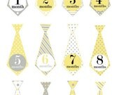 Baby boy monthly iron on sticker tie decals transfers - yellow and gray