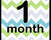 Month to month baby boy chevron iron on or sticker decal transfers for bodysuits baby shower gift