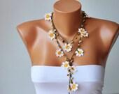 beadwork necklace ,crochet necklace, crochet oya necklace with  naturel stones