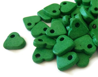 Green Ceramic Bead Hearts 30pcs C 10 018