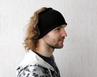 Knitted Mens Headband Guys knit hair wrap - Black Unisex Adults Dread band