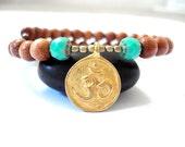 Ohm Wrap Bracelet, Wooden Mala Beads, Green Czech Glass, Brass Ohm Charm, Yoga Bracelet