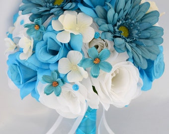 """17 Piece Package Wedding Bridal Bride Bouquet Silk Flower Centerpieces Flowers TURQUOISE MALIBU TEAL White """"Lily of Angeles"""" TUWT03"""