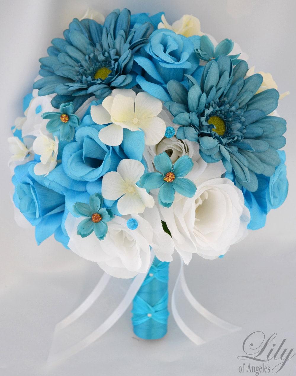 17 piece package wedding bridal bride bouquet silk flower zoom dhlflorist Gallery