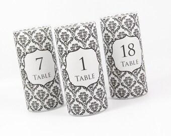 INSTANT DOWNLOAD - Damask Vase Wrap - Damask Candle Wrap - Damask Table Number - Table Number Vase Wrap