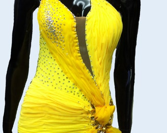 Ballroom Dance Dress Yellow with Feathers