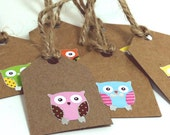 Owl gift tags, rectangular small