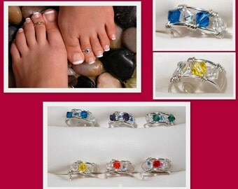 Swarovski Crystal Toe Rings