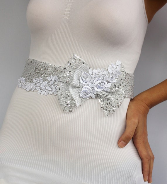Wedding dress belt bridal sash grey silver sequined for Wedding dress belt sash