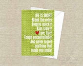 Life is Short Inspirational Motivational Greeting Birthday Card Green Leaf Red Heart Typography