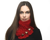 Hand Knit Red Scarf,  Neck Warmer, Cowl, Heart shaped buttons, Knit Accessories by Solandia. Winter fashion love gift, Valentines Day Gift