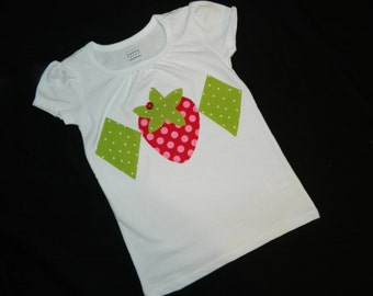 Strawberry shortcake Tween, girl, toddler or baby knit white SHIRT or white onesie with strawberry and diamond applique sizes NB - 16