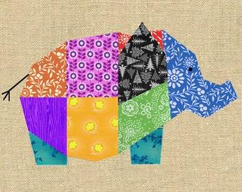 Elephant paper pieced quilt block pattern PDF