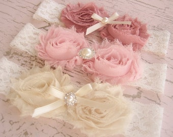 Vintage Headbands - Cherry Blossoms Set of 3 -  Flower Girl, bridesmaids, shabby chic colors 3 headbands
