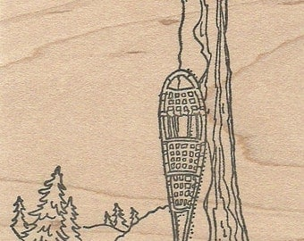 Snowshoes with  Woods Scene - Wood Mounted Rubber Stamp