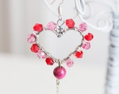 earrings Saint Valentines 'Love Confession' heart hearts love baby pink romantic gift deep red amazing beautiful