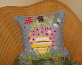 Appliqued and quilted whimsical pillow, hand made in the USA