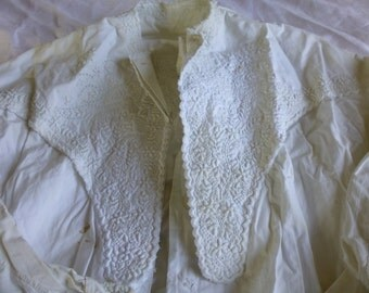 Vintage Edwardian Matelassé dressing gown Winter White Downton Abbey Shabby