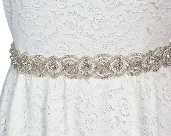 bridal sash with glass beads and crystal,  rhinestone sash , wedding beaded sash - Lena