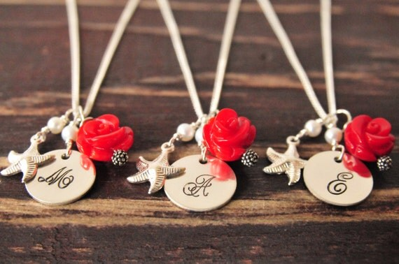 Sweet bridesmaid initial necklace