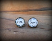 Antiqued Bronze Pride and Prejudice Stud Earrings (Mr Darcy)