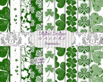 Shamrocks Digital Paper Pack Set of 9 - 12 x 12 Digital Papers - Green White Clover St Patricks Day Shamrock Irish