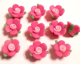 10 Fimo Polymer Clay Rose Pink  Flowers Fimo Beads 17mm
