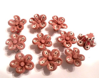 10 Fimo Polymer Clay Brown Flower Fimo Beads 17mm